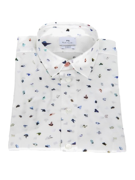 Shop PAUL SMITH  Shirt: PS by Paul Smith white shirt with Brush Strokes print. Small and soft collar. Slim fit. Long sleeves. Contrast collar button.. PUXD 433R 656-02