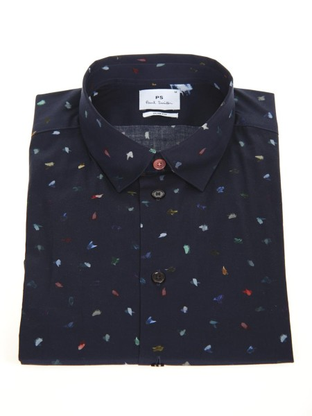 Shop PAUL SMITH  Shirt: PS by Paul Smith navy blue shirt with Brush Strokes print. Small and soft collar. Slim fit. Long sleeves. Contrast collar button.. PUXD 433R 656-47