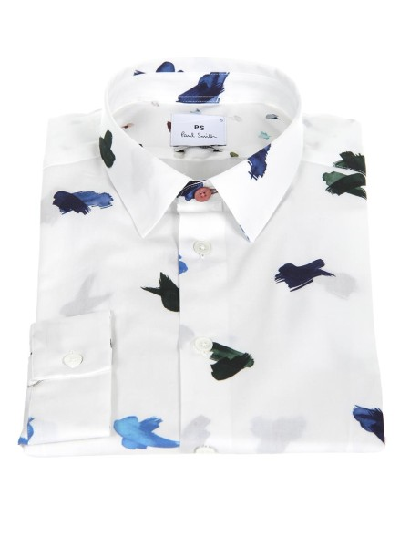 "Shop PAUL SMITH  Shirt: PS by Paul Smith white shirts with ""Brush Strokes"" print in a small scale. Soft point collar. Buttons with pearl effects. Contrast cuff lining. Slim fit. Machine washable. Composition: 100% cotton.. PUXD 433R 657-02"