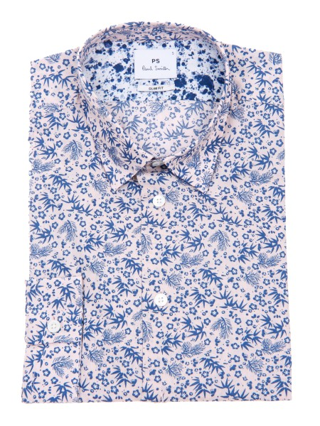 Shop PAUL SMITH  Camicia: PS Paul Smith camicia rosa con microfantasia floreale, in cotone. Colletto piccolo e morbido all' italiana. Slim fit. Maniche lunghe. Composizione: 100% cotone. PUXD 433R 664-21