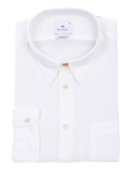 Shop PAUL SMITH  Camicia: PS Paul Smith camicia bianca in lino. Colletto all' italiana. Taschino a sinistra. Tailored fit. Maniche lunghe. Composizione: 100% lino.. PUXD 614P 631-02