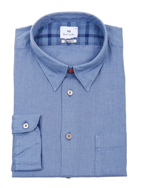 Shop PAUL SMITH  Camicia: PS Paul Smith camicia celeste in lino. Colletto all' italiana. Taschino a sinistra. Tailored fit. Maniche lunghe. Composizione: 100% lino.. PUXD 614P 631-43