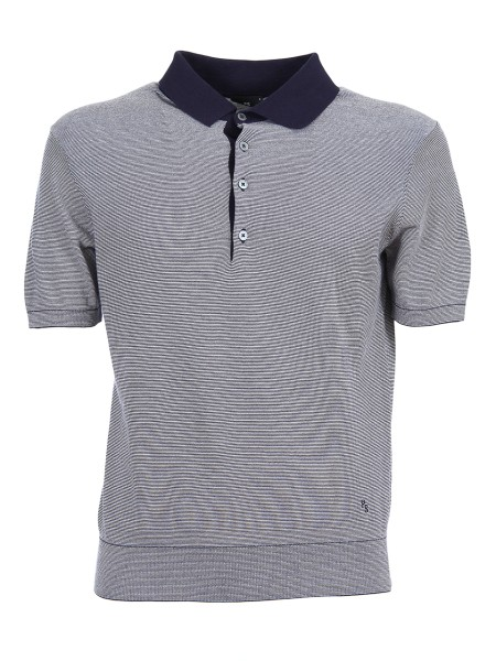 Shop PAUL SMITH  Polo Shirt: Paul Smith grey and blue Polo shirt. Blue stripes pattern. Blue Collar. Short sleeve with ribbed cuff. 100% cotton. Regular Fit. Five grey bottons.. PUXD 888R 676-49