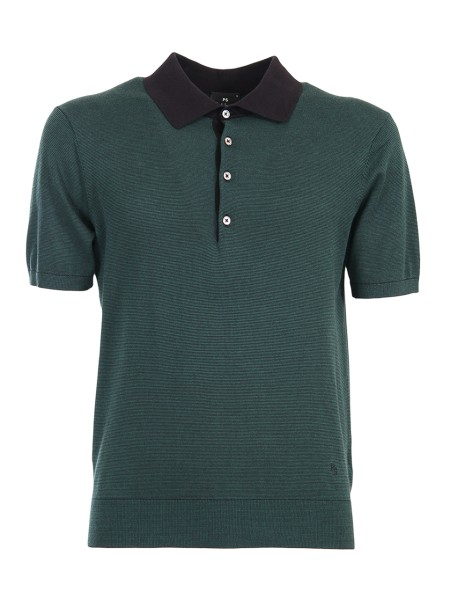 Shop PAUL SMITH  Polo Shirt: Paul Smith Green Polo Shirt. Black stripes pattern. Black collar. Black logo on the left side at the bottom. Short sleeve with ribbed cuff. Five grey bottons. 100% cotton. Regular Fit.. PUXD 888R 676-79