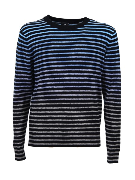 Shop PAUL SMITH  Pullover: Paul Smith pullover with black stripes. Background with blue and grey shades. Semicircular neckline. Black collar. Long sleeve with ribbed cuff. 100% cotton.. PUXD 890R 700-40