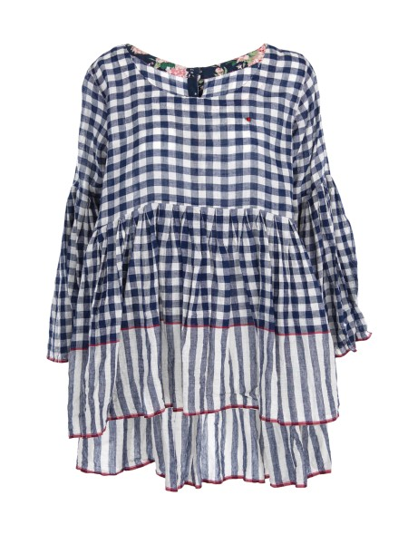Shop PE'RO Sales Duster: Péro plaid shirt, in cotton. Long sleeves with flared cuffs. Closure with buttons all different from each other. Composizioen: 100% cotton. Made in India.. LB WPT HP-01