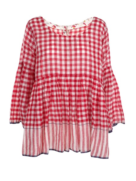 Shop PE'RO Sales Duster: Péro plaid shirt, in cotton. Long sleeves with flared cuffs. Closure with buttons all different from each other. Composizioen: 100% cotton. Made in India.. LB WPT HP01-CHR S1
