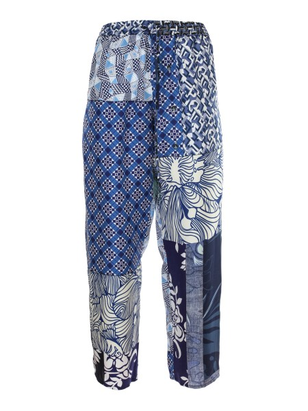 Shop PIERRE LOUIS MASCIA  Trousers: Pierre-Louis Mascia silk pattern trousers. Drawstring in the waist. Composition: 100% silk. Made in Italy.. ALOEUW SW CAPT PANT-42091 10218