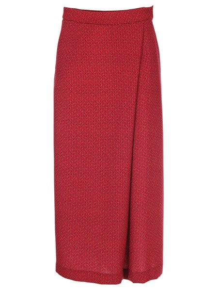 Shop PT01  Trousers: PT 01 red and black micro pattern pants. Closure, front, overlapping. Wide leg. Cropped length. Composition: 100% polyester. Made in Italy.. CDVSMAZ00STD MARIE AP27-0650