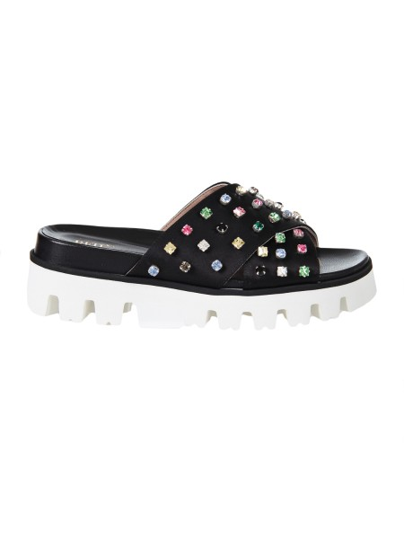 Shop RED VALENTINO  Shoes: Red Valentino black satin slider sandal. Handmade multicolor rhinestone embroidery. Internal Fusbett. Rubber sole. Made in Italy.. PQ2S0A21 BCY -0NO