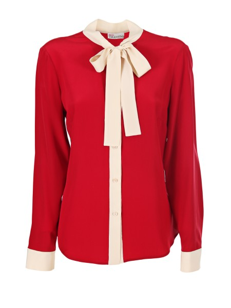 Shop RED VALENTINO  Shirt: Red Valentino shirt in silk, red. Long sleeves. Contrasting bow. Contrasting cuffs and buttons. Regular fit. Composition: 100% silk.. PR3AB1J0 2MJ-487