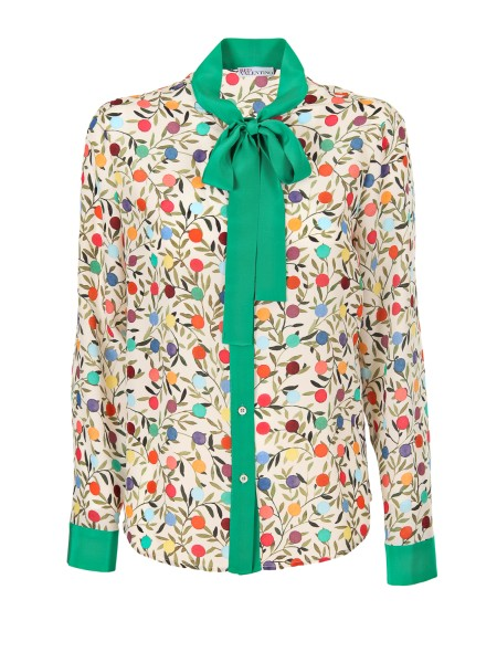 Shop RED VALENTINO  Shirt: Red Valentino shirt in silk with print of flowers and leaves. Long sleeves. Contrasting bow. Contrasting cuffs and buttons. Regular fit. Composition: 100% silk.. PR3AB1J0 3FQ-26D