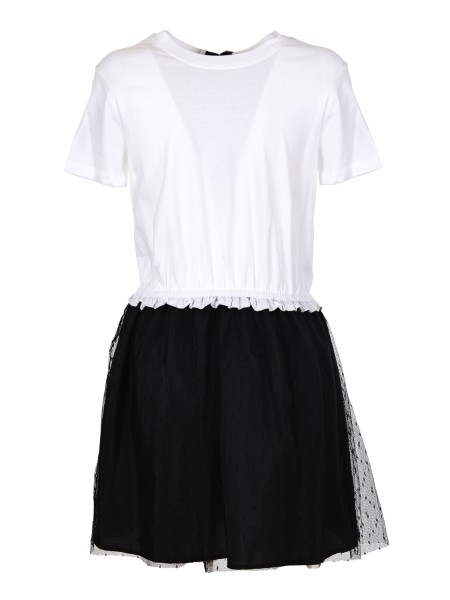 Shop RED VALENTINO  Dress: Red Valentino dress / t-shirt in cotton jersey. Point d'esprit tulle skirt Bow on the back. Composition: 100% cotton. PR3MJ06 W3LJ-A01