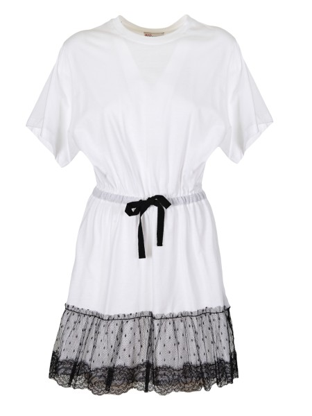 Shop RED VALENTINO  Dress: Red Valentino dress / t shirt in cotton, white. Short sleeves. Round neckline. Drawstring on the waistline. Ruffle with tulle and lace insert. Composition: 100% cotton.. PR3MJ06V 3LH-A01