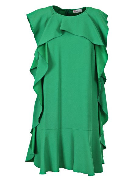Shop RED VALENTINO  Dress: Red Valentino green dress in crepe envers satin. Ruffle along the front. Round neckline. Sleeveless. Fluid fit. Retractable back zip. Composition: 74% viscose 26% acetate.. PR3VA610 0F1-GT5