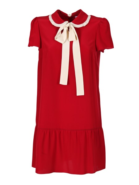 Shop RED VALENTINO  Dress: Red Valentino red dress in silk. Short sleeves. Collar with contrasting rouche finish. Silk scarf tied with a bow. Flounce to the bottom. Back zip. Length in size 40: 85 cm. Composition: 100% silk.. PR3VA6C5 2MJ -487