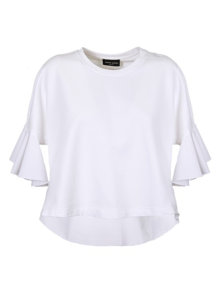 Shop ROBERTO COLLINA  T-shirt: Roberto Collina white cotton t-shirt. Short sleeves, flared at the bottom. Round neckline. Composition: 100% cotton. Made in Italy.. V50081 V50-01