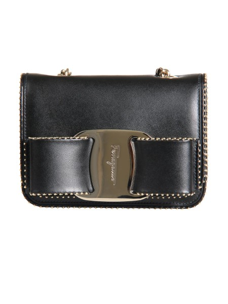 Shop SALVATORE FERRAGAMO  Bag: Salvatore Ferragamo mini shoulder bag in leather with iconic large Vara bow. Decorated with small studs. Golden chain with leather strap. Composition: 100% calfskin. Dimensions: Height 12.5 cm Length 16.5 cm Depth 6.5 cm. Made in Italy.. 21H026 VARA RW -001690823