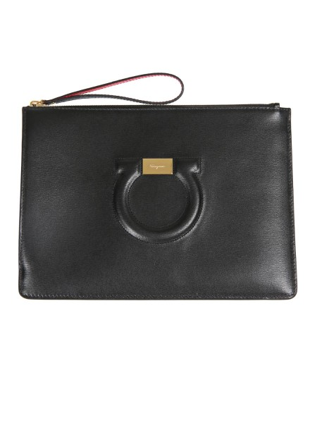 Shop SALVATORE FERRAGAMO  Bag: Salvatore Ferragamo leather sachet with front logo. Top closure with zip. It can be used as a refined clutch bag or a comfortable cosmetic bag. Composition: 100% calfskin. Dimensions: Height 20 cm Length 27 cm. Made in Italy.. 22D299 019-001691019