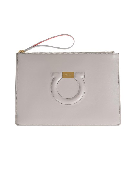 Shop SALVATORE FERRAGAMO  Bag: Salvatore Ferragamo leather sachet with front logo. Top closure with zip. It can be used as a refined clutch bag or a comfortable cosmetic bag. Composition: 100% calfskin. Dimensions: Height 20 cm Length 27 cm. Made in Italy.. 22D299 019-012691018