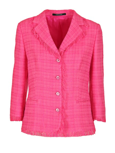 Shop TAGLIATORE 0205  Jacket: Fuchsia blazer in cotton and viscose. Fringed edges. 3/4 sleeves. Closure with four buttons. Thread pockets. Composition: 59% cotton 41% viscose. Made in Italy.. ADELE 16035-Y482