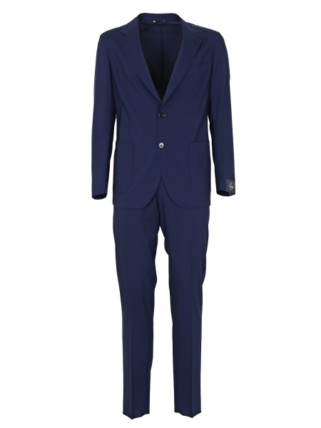 "Shop TOMBOLINI  Dress: Tombolini blue woolen suit in ""zero gravity"". Uncreasable. Total weight: 350 gr. Closure with two buttons. Unlined. Patch pockets. Two rear slits. Slim fit trousers. Composition: 100% virgin wool. Made in Italy.. A116 EREG-U740"