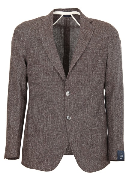 Shop TOMBOLINI  Jacket: Tombolini brown jacket in wool and linen. Closure with two buttons. Patch pockets. Two rear slits. Composition: 59% virgin wool 33% cotton 8% linen. Made in Italy.. G2T1 ETC5-U230