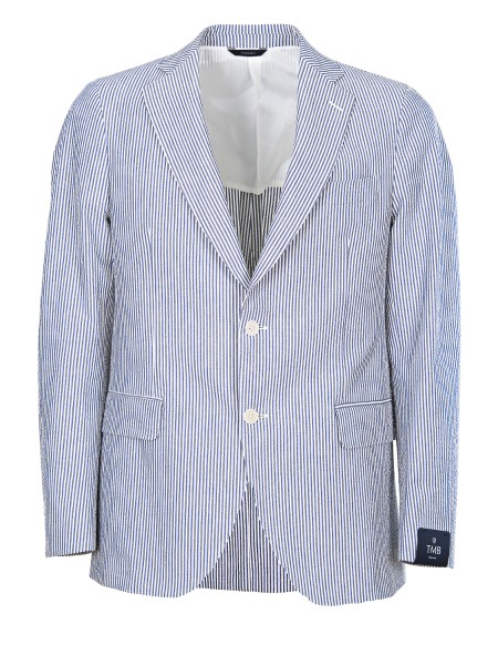 Shop TOMBOLINI  Jacket: Tombolini pinstripe jacket. white and light blue. Pockets with flap. Closure with two buttons. Half lining. Two rear slits. Composition: 98% cotton 2% elastane. Made in Italy.. G339 ERF6-R027
