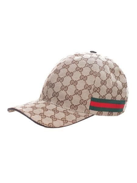 Shop GUCCI Cappello  Cappello Gucci motivo GG beige. Dettaglio web rossa e  verde laterale ... d9e4821ea9ca