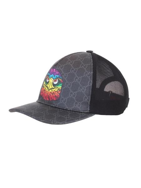 Shop GUCCI Cappello  Gucci Cappellino da baseball in tessuto GG Supreme  nero e grigio con ... 0e18b8e634ba