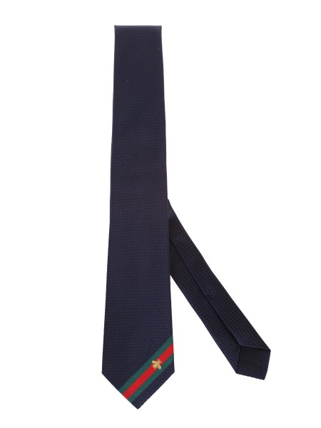 Shop GUCCI  Tie: Gucci tie in blue silk with green and red web contrasted by an embroidered bee. Width 7cm x Length 146cm. 100% silk. Made in Italy.. 456510 4E002-4066