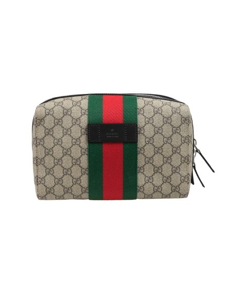 Shop GUCCI  Beauty: Gucci beauty Ophidia in GG Supreme con Web. Tessuto GG Supreme Beige e d ebano. Finiture in pelle. Dettaglio Web. Made in Italy.. 523337 9F2YN-9678