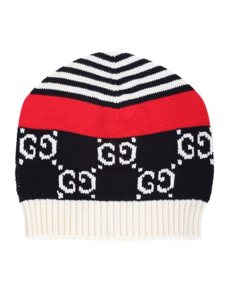 Shop GUCCI  Hat: Gucci cap with iconic GG pattern, navy blue and white. Ribbed processing. Red ribbon. 100% cotton. Made in Italy.. 547525 4G180-4174