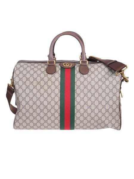 db1a6dc064 Shop GUCCI Borsa: Gucci Borsa da viaggio Ophidia in tessuto GG Supreme  beige ed ebano ...