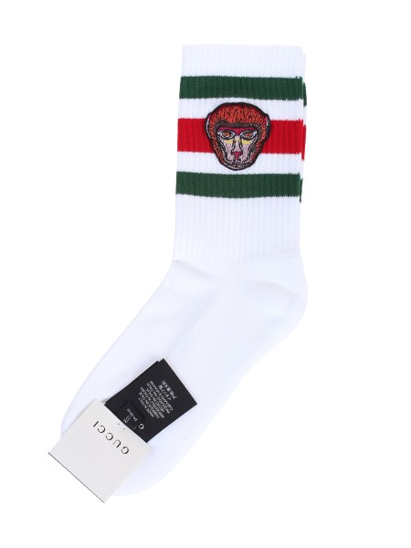 Shop GUCCI  Sock: Gucci short socks featuring Web detail and an embroidered monkey. Composition: 81% cotton, 17% polyamide and 2% elastane. Made in Italy.. 553122 4G490-9066