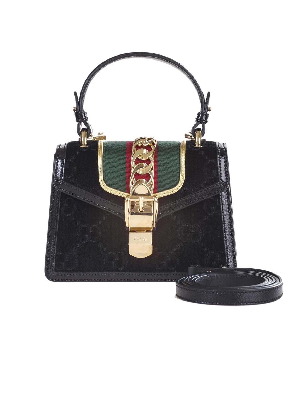 800ac657dc shop GUCCI Borsa: Gucci borsa Sylvie mini in Velluto GG nero con finiture  in pelle