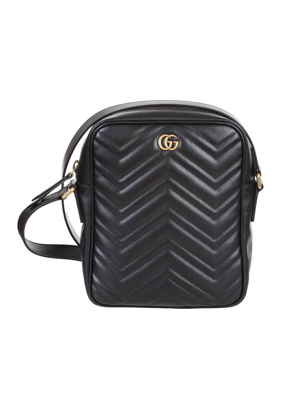 69a453f3ff shop GUCCI Tracolla: Gucci borsa a tracolla in pelle nera matelassé con  motivo chevron.