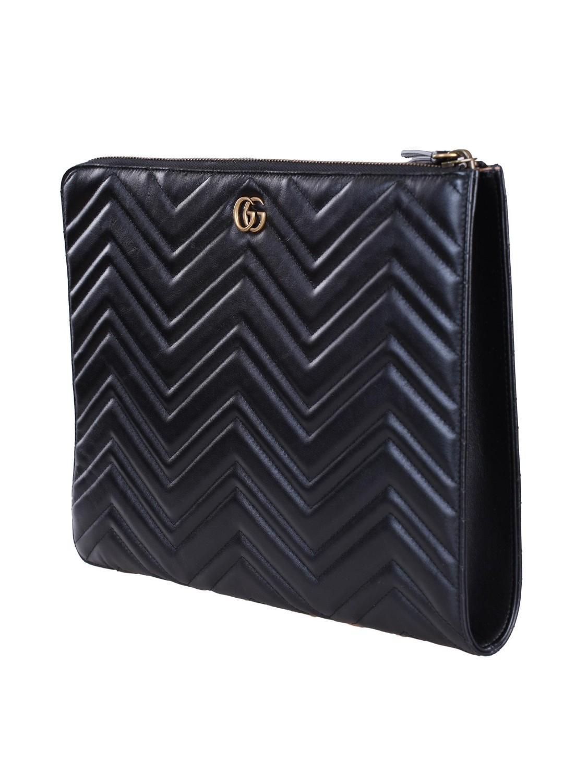 a87c8a61c4 shop GUCCI Busta: Gucci Borsa Clutch 'Marmont 2.0' in pelle nera con manico