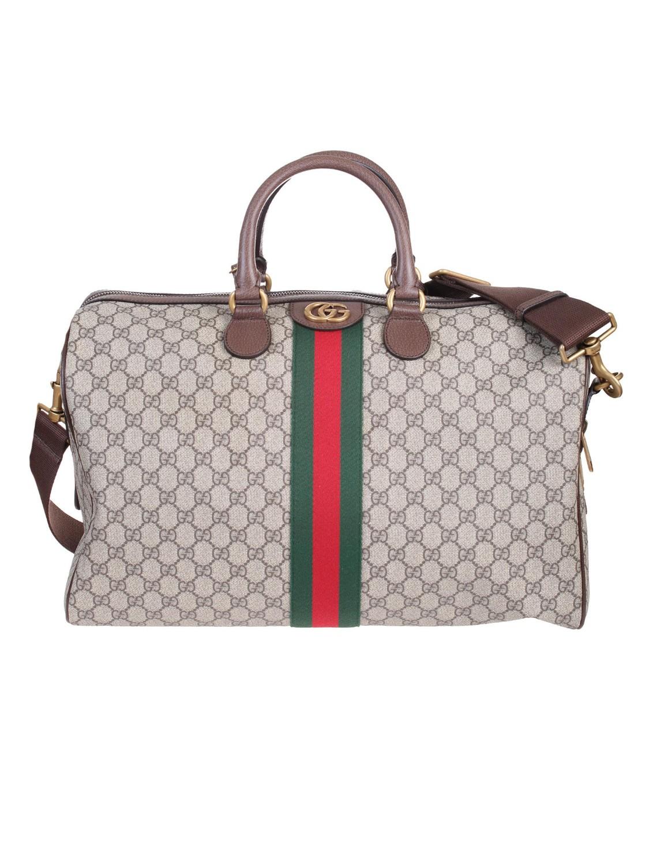 shop GUCCI Borsa  Gucci Borsa da viaggio Ophidia in tessuto GG Supreme  beige ed ebano 00fe256b8df
